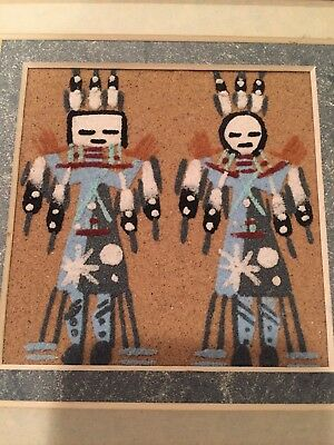 NAVAJO SAND PAINTING WARRIORS 7x7 SIGNED FRAMED NATIVE AMERICAN INDIAN