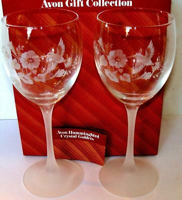 Avon Gift Collection HUMMINGBIRD CRYSTAL GOBLETS Made in France NOS NIB
