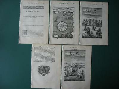 1683 - MALLET - SAO TOME  St HELENA  ASCENSION Island Map & 2 engravings