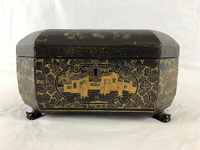 Chinese Lacquer Black & Gold Tea Box Caddie, Pewter, 19th Century, Qing Dynasty