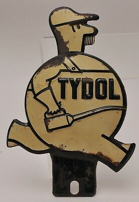 ANTIQUE TYDOL LICENSE PLATE TOPPER FAT MAN with  OIL CAN