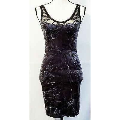 357af4364a Mystic Juniors Dress S Blue Black Crushed Velvet Lace New Years Eve Party