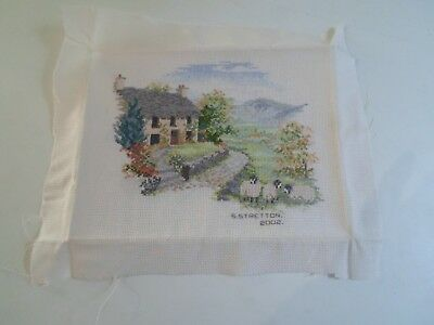 Small Fab Finely Worked Completed Tapestry COUNTRY COTTAGE+SHEEP - Rustic Scene