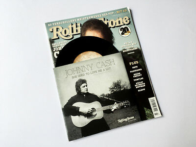 """Johnny Cash: She Used To Love Me A Lot 7"""" Vinyl Single + Rolling Stone magazine"""