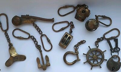 Antique Maritime, Nautical Brass Keyrings, Pre 1970.