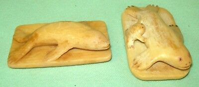 2 Vintage LUX SOAP   Hand Carved SEAL CARVING Bar Soap FOLK ART HAND CARVED neat