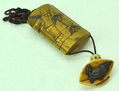 Antique Japanese Gold Lacquered Inro w/ Signed Netsuke Late 19th Century NR