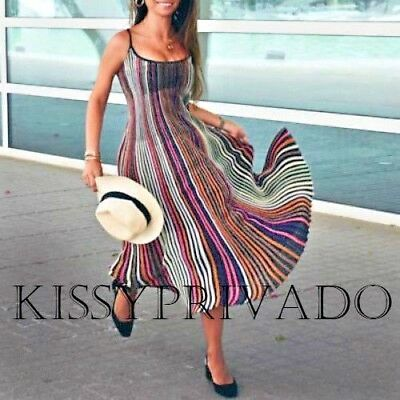 ZARA Shiny Multicoloured Striped Knitted Dress M BNWT 3859 103