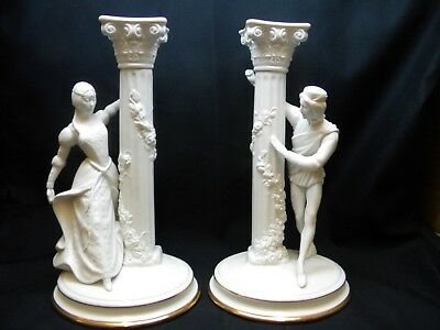 Franklin Mint 1986 The Romeo and Juliet Candlesticks Fine Porcelain