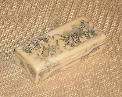 Antique Asian Not Plastic Scrimshaw TRINKET BOX Rabbits on the Field Theme 259k