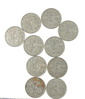 10 Pack 1926 Near 6 Canada Nickel 5 Cent Coin Variety Lot .