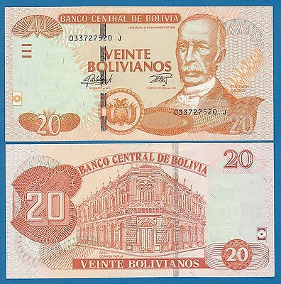 Bolivia 20 Bolivianos P 244 (2015) L. 1986 UNC Series J,  Low Shipping!