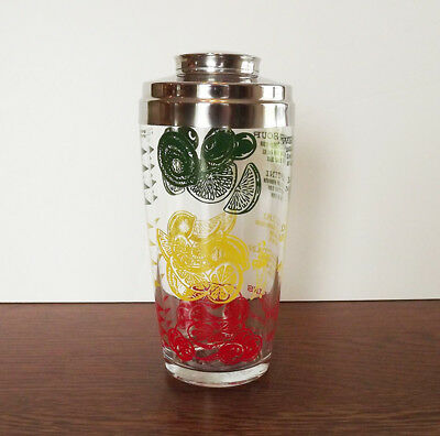 Vintage Mr Bartender Products USA Glass Drink Mixer Shaker COLORFUL