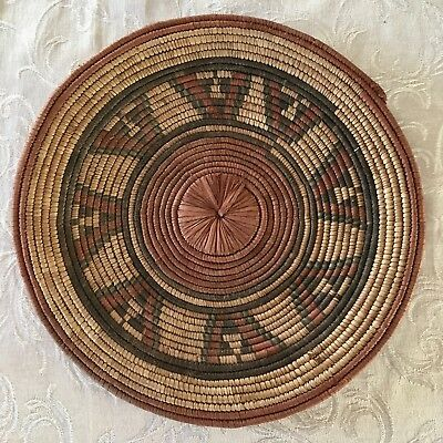 Vintage Native American Indian Hand Woven Tray Basket