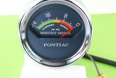 VINTAGE 1960s PONTIAC CENTER CONSOLE VACUUM CHROME GAUGE WORKING FINE COND
