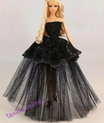 New Barbie doll clothes outfit princess wedding gown dress black lace and shoes