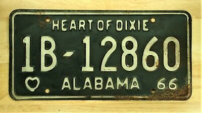 1966 Alabama 1B 12860 Heart Of Dixie License Plate Vehicle Tag Lot  1340