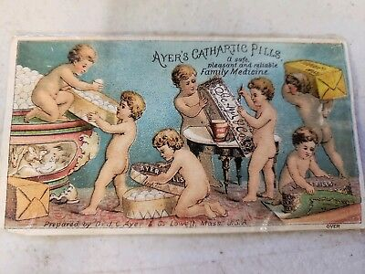 Antique Early small  Ayers Cathartic Pill  Advertising  Medicine