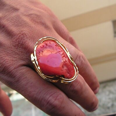 TAILORED ANTIQUE PHONECIAN GOLD SILVER BIG SLEEPING BEAUTY Coral Baroque RING 7