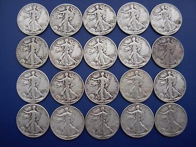 Very nice lot of 20 well matched Walking Liberty halves: 1936-1947-D. #4