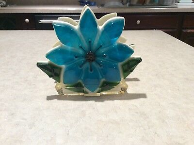 Vintage 1960s Turquoise Blue Resin Napkin Letter Holder Retro Flower Power Style