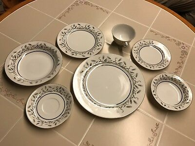 7 Piece Place Setting Of Beautiful Waco China Wheat Pattern Service For Four 28