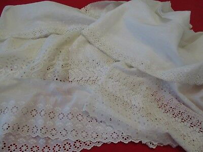 Lot Of Assorted Vintage Salvaged White Eyelet Fabric Remnants & Lengths!!