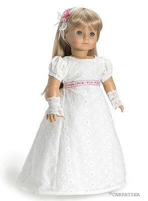 Regency Doll Clothes Empire Dress, Gloves, Hair Ribbons, fit 18 In American Girl
