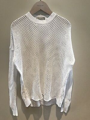 Jac & Jack White Crochet Knit Top Jumper Sweater XS