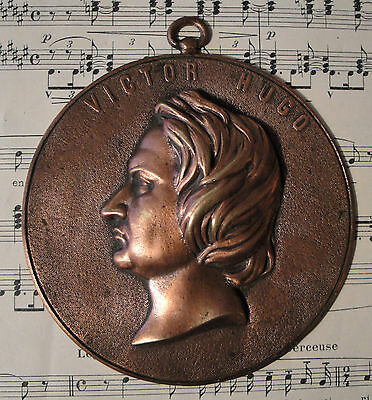 French Antique Victor Hugo Bronze Wall Plaque c1920