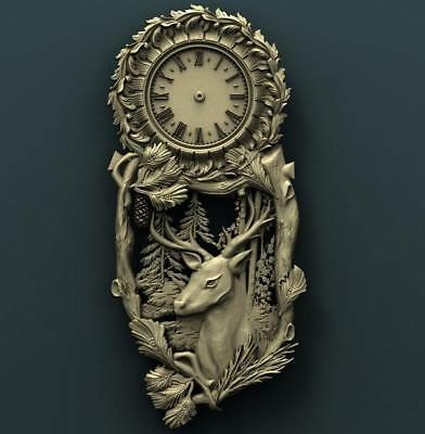"3D STL Model Relief for CNC Router Aspire Artcam - ""Deer Clock Forest"""