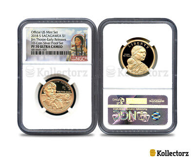 2018 S Sacagawea $1 Jim Thorpe 10-Coin Silver Proof Set Ngc Pf70 Early Releases