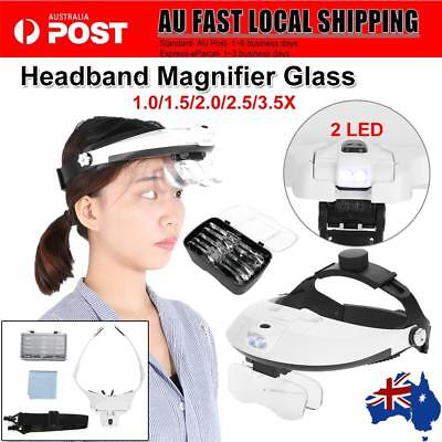 Headband Head 2 LED Wearing Jeweler Reading Magnifier Magnifying Glass Loupe AU