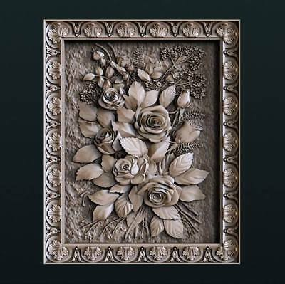 "3D STL Model for CNC Router Aspire Artcam - ""Roses in Frame"""