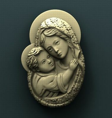 """3D STL Model Relief for CNC Router Aspire Artcam - """"Virgin Mary and Jesus"""""""