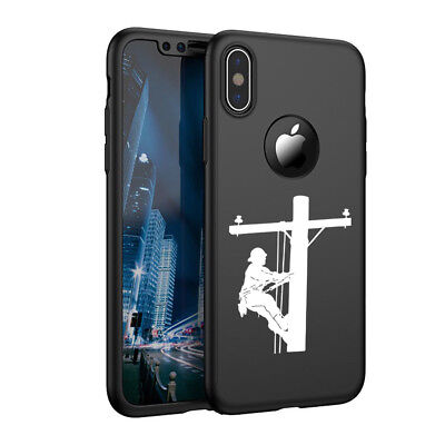 For iPhone X XS Max XR 360° Thin Case Cover Screen Lineman Electric Pole Climber