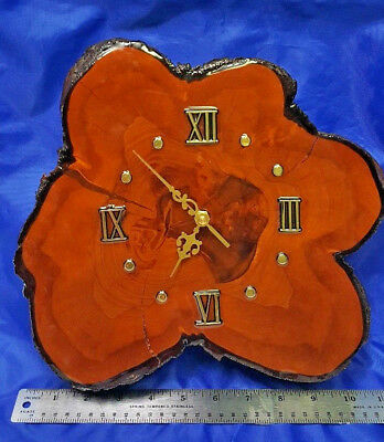 "Vintage  Abstract CYPRESS WALL CLOCK  Tree Wood Slab  Roman Numeral 11"" RETRO"