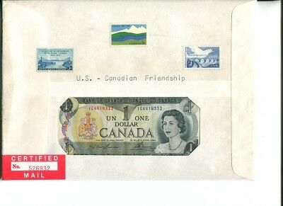 First Day Issue Postmarked in Foreign Country 1$ Notes Hist. Collector Cover