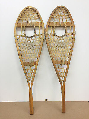 """Old Antique Vintage 11"""" X 37"""" Indian Made Snowshoes For Decor Or Arts And Craft"""