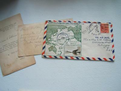 Vintage Ww 2 Air Mail Envelope W/ Map & Picture Of American Clipper Nc 18606