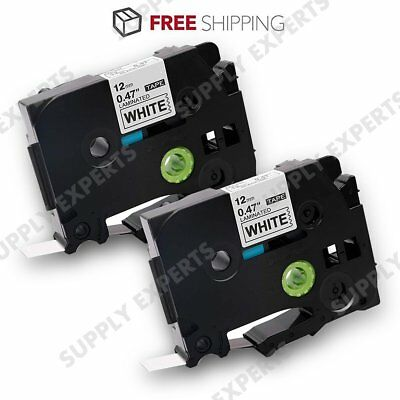 2PK Compatible for Brother TZ-231 TZe 231 Black on White P-Touch Label Tape 12mm