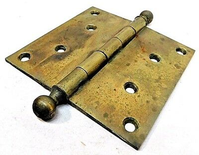 "1890's Solid Brass DOOR HINGES 5"" x 5"" Ball Top VICTORIAN Style R.H.Co. ORNATE"