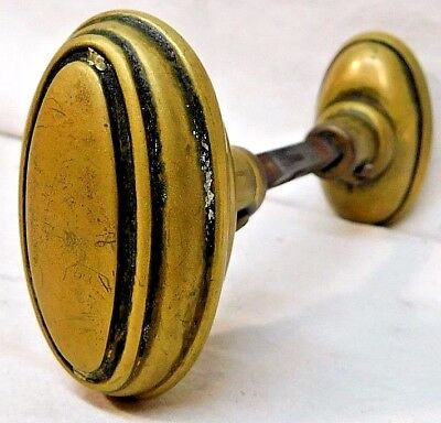 1800's Antique Oval DOOR KNOB Set Original VICTORIAN Style Solid Brass ORNATE