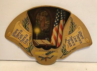 Vintage Cardboard Tri-Fold Expanding Hand Fan – Advertising Funeral Home