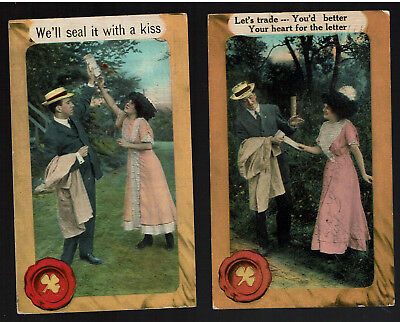2 Antique Romance Postcards 1911 Your heart for the letter / We'll Seal With Kis