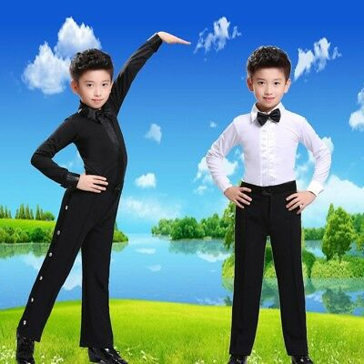 3ecd61ca2de5 Boys Dance Shirt Ballroom Modern Salsa Samba Smooth Latin Tango Costume Top  New