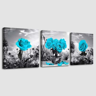 Canvas Wall Art for Bedroom Black and white landscape Blue 12*12inches * 3pcs