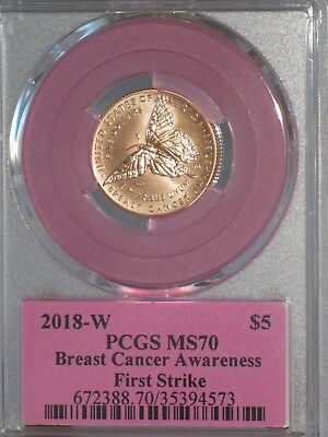 2018 W $5 First Pink Gold Breast Cancer Awareness Coin PCGS MS70 First Strike!!!
