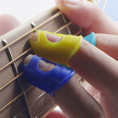 New Women Mens Silicone Guitar Thumb Bass Play Finger Picks Protector Cover Case
