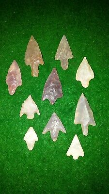 Authentic Neolithic lot of 10 high quality arrowheads b12